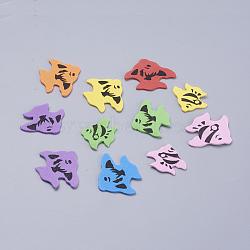 Feuilles colorées de haute qualité de l'autocollant de papier de mousse, poisson, couleur mixte, 36~48x30~40x2 mm; environ 26 PCs / sac(DIY-WH0028-01)