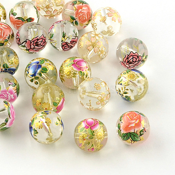 Rose Flower Pattern Printed Round Glass Beads, Mixed Color, 10x9mm, Hole: 1.5mm(GFB-R004-10mm-U)