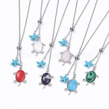 Tortoise Brass Natural & Synthetic Mixed Stone Lariat Necklaces, with Synthetic Turquoise Starfish/Sea Stars Beads and 304 Stainless Steel Findings, 20.4 inches(52cm), 2mm(NJEW-JN02456)
