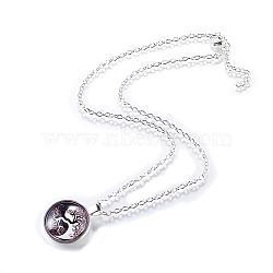 """Yin-yang avec arbre de modèle de vie verre plat rond pendentifs, avec des chaînes d'alliage, argenterie, 18""""(NJEW-N0051-010C-02)"""