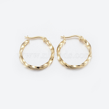 304 Stainless Steel Hoop Earrings, Ring, Twisted, Golden, 10 Gauge, 25x25x2.5mm, Pin: 1x0.8mm(X-EJEW-G239-33A)