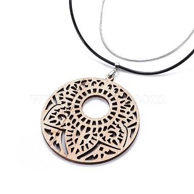 Flat Round Wood Pendant Necklaces(NJEW-JN02327-03)-2