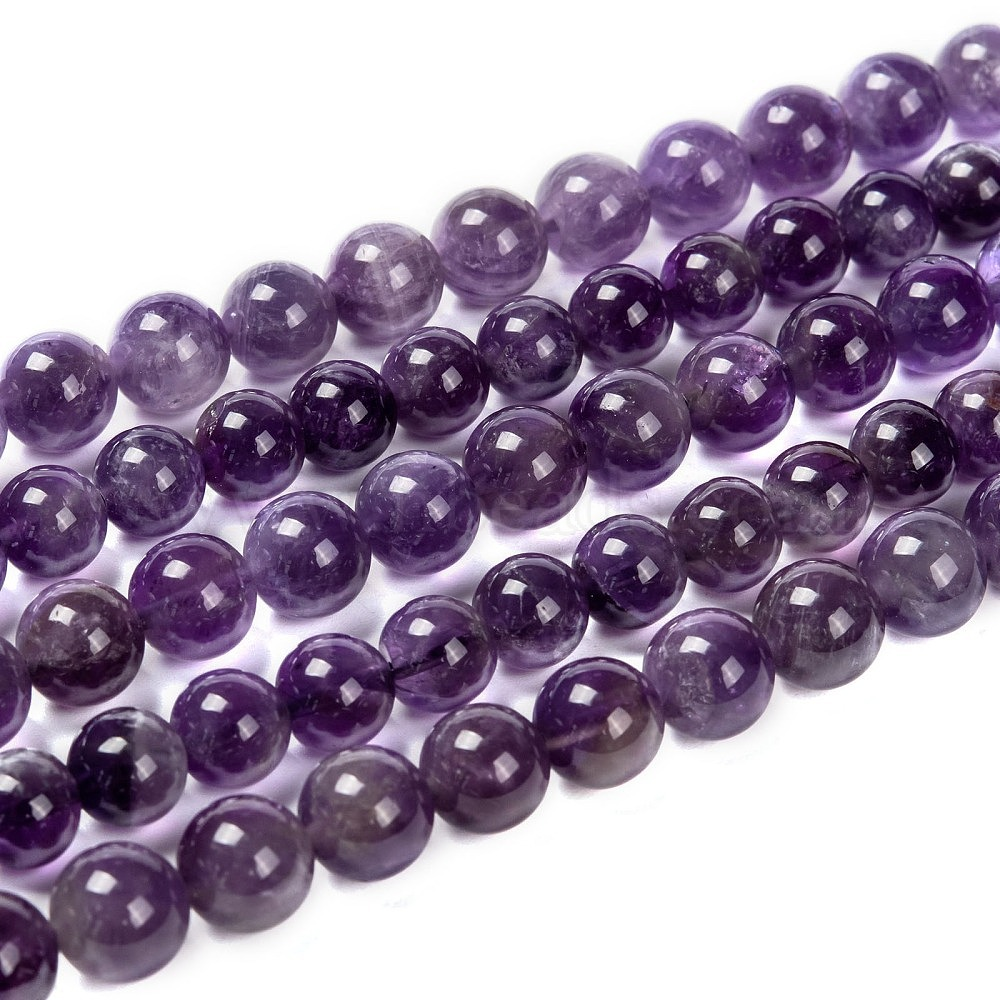 Amethyst faceted beads 8mm round 22 inch strung with seed beads /& cap ar10