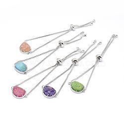 """Bracelets bolo en laiton avec zircon cubique, Bracelets coulissants, avec des cabochons d'agate druzy naturels et galvanisés, or, couleur mixte, 9-1/2"""" (240 mm)(BJEW-A108-P)"""