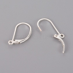 925 Sterling Silver Leverback Earring Findings, Carved 925, Silver, 16.5x9x1.5mm, Hole: 1mm; Pin: 0.7mm(X-STER-T002-227S)