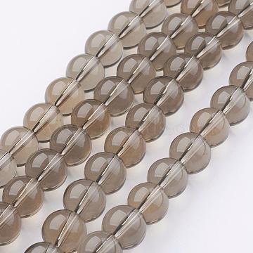 12mm Tan Round Glass Beads
