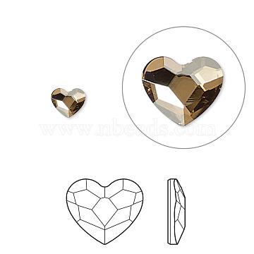 Austrian Crystal Rhinestone, 2808, Crystal Passions, Foil Back, Faceted Heart, 001GSHA_Crystal Golden Shadow, 14x12x3mm(X-2808-14mm-001GSHA(F))