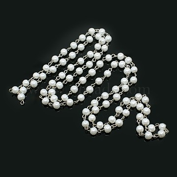 Handmade Glass Pearl Beads Chains, with Iron Eye Pin, Unwelded, Platinum, White, 1000x6mm, about 1m/strand(X-AJEW-ph00493-01)