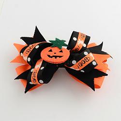 Halloween gros-grain bowknot alligator pinces à cheveux, avec des clips de fer et de la citrouille, platine, orange foncé, 90x120mm(PHAR-R165-06)