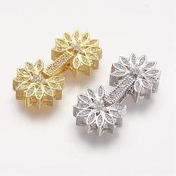 micro cuivres ouvrent zircone cubique replier fermoirs, fleur, couleur mélangée, 28x13x5 mm, trou: 1 mm(ZIRC-F047-04)