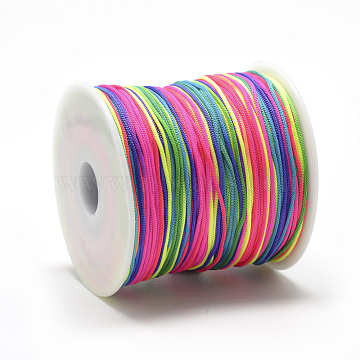 Polyester Cords, Colorful, 0.8mm, about 131.23~142.16 yards(120~130m)/roll(OCOR-Q037-22)