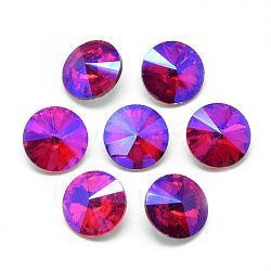 pointé cabochons en strass de verre, rivoli strass, Retour plaqué, facettes, ab couleur plaquée, cône, rouge, 12x4.5 mm(RGLA-T021-12mm-03)