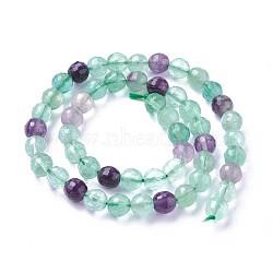 """Chapelets de perles en fluorite naturel, facette, rond, 8mm, trou: 1.2mm; environ 47~49 pcs/chapelet, 14.96''~15.15"""" (38~38.5 cm)(G-P430-17-C)"""