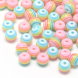 Transparent Stripe Resin Beads, Round, Pink, 6mm, Hole: 1mm(X-RESI-S345-6mm-09)