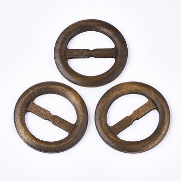 Wood Buckles, Flat Round, Peru, 59.5~60x5.5mm, Hole: 18x38mm(WOOD-T019-01B)