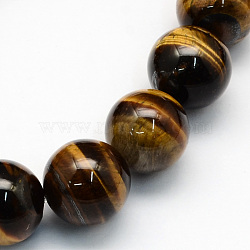 Natural Tiger Eye Round Beads Strands, 10.5mm, Hole: 1.2mm; about 36pcs/strand, 15.7inches