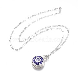Alloy Porcelain Flat Round Pendant Necklace Pocket Watch, with Iron Chains and Lobster Claw Clasps, Quartz Watch, Blue and White Style, Platinum, Blue, 31.5inches~32.2inches; Watch Head: 40x29x14mm(X-WACH-N013-05D)