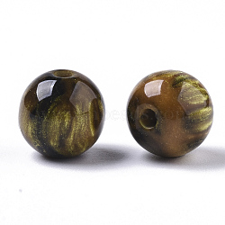 Resin Beads, Imitation Gemstone, Round, Gold, 8mm, Hole: 1.6mm(X-RESI-S387-015A-05)