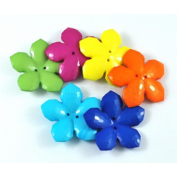 Colorful Acrylic Buttons, Two Drilled Hole, Faceted, Flower, Mixed Color, Size: about 40mm in diameter, 7mm thick, hole: 1mm(X-MACR-S066-M)