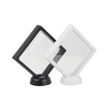 Acrylic Frame Stands, with Transparent Membrane, 3D Floating Frame Display Holder, Coin Display Box, Rhombus, Mixed Color, 15x15x5.5cm(BDIS-L002-01)