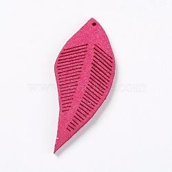 Искусственные замшевые украшения, лист, темно-фиолетовые, 43~44x16~17x1.5 мм, отверстие : 1 мм(FIND-L006-A01)