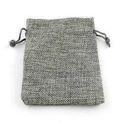 jute emballage sachets cordon sacs, pour noël, fête de mariage et emballage de bricolage, gris, 9x7 cm(ABAG-R005-9x7-04)