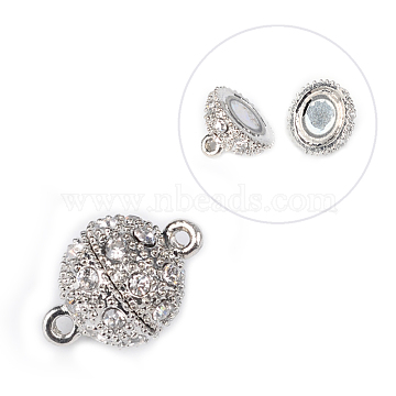 Alloy Rhinestone Magnetic Clasps, Round, Platinum, Crystal, 20.5x14.5mm, Hole: 2mm(X-BSAHH052)