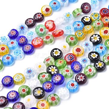 Flat Round Handmade Millefiori Glass Beads, Mixed Color, 8x3mm, Hole: 0.5mm; about 48pcs/strand, 14.1 inches(X-LK-R004-54)