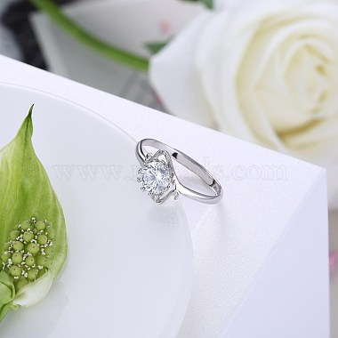 Adjustable 925 Sterling Silver Cubic Zirconia Finger Rings(RJEW-BB20783-6)-4