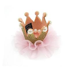 Pinces à cheveux dentelle crocodile, Avec des crochets d'alligator de fer, couronne, rose, 90mm(OHAR-Q134-01)