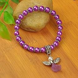Bracelets d'ange belle avec robe de mariée pour les enfants, bracelets carnaval extensibles, avec verre perles de nacre et de perles de style tibétain, darkorchid, 45mm(BJEW-JB00727-08)