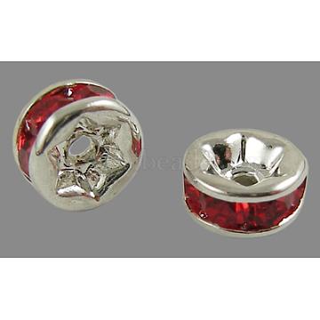 7mm Red Rondelle Brass + Rhinestone Spacer Beads