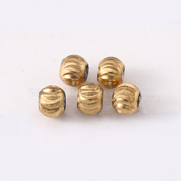 304 Stainless Steel Corrugated Beads, Round, Golden & Stainless Steel Color, 3x2.5mm, Hole: 1.2mm(STAS-S103-17A-G)