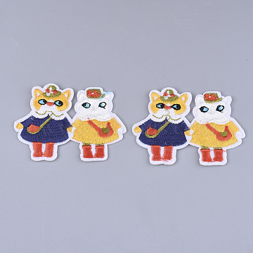 Computerized Embroidery Cloth Iron on/Sew on Patches, Appliques, Costume Accessories, Cat, Colorful, 54x74x1.5mm(X-FIND-T030-280)