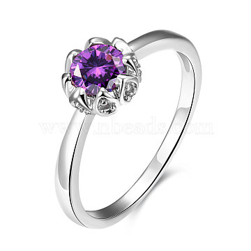 Purple Brass+Cubic Zirconia Finger Rings