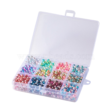 Rainbow ABS Plastic Imitation Pearl Beads, Gradient Mermaid Pearl Beads, Round, Mixed Color, 7.5~8x7~7.5mm, Hole: 1.6mm; 12colors, about 25~30pcs/color, 300~360pcs/box(OACR-YW0001-02B)