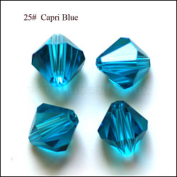 imitation perles de cristal autrichien, AAA grade, facettes, Toupie, deepskyblue, 6x6 mm, trou: 0.7~0.9 mm(SWAR-F022-6x6mm-243)