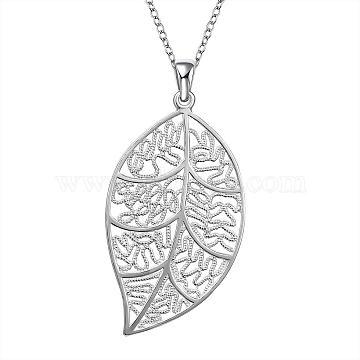 Brass Hollow Leaf Pendants, Silver Color Plated, 61x32mm(KK-BB11642)