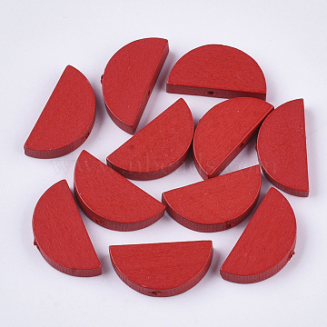 Spray Painted Natural Wood Beads, Half Round, Red, 10x20x4~5mm, Hole: 1.4mm(X-WOOD-N004-B-06)