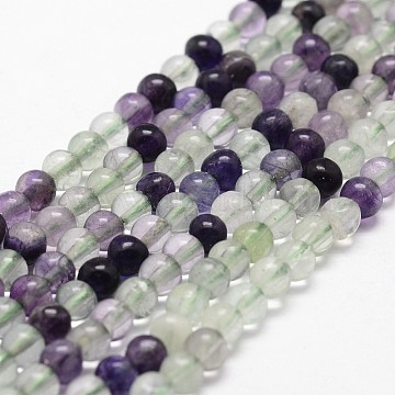 Natural Fluorite Bead Strands, Round, Grade AB, 4mm, Hole: 1mm, about 96pcs/strand, 14.9 inches~15.1  inches(X-G-D840-56-4mm-AB)