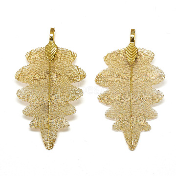 Iron Big Pendants, Electroplate Natural Leaf, Leaf, Golden Plated, 56~59x30x1.5mm, Hole: 3x5.5mm(X-IFIN-T006-18G)