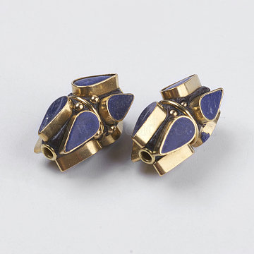Handmade Indonesia Beads, with Brass Findings, Nickel Free, Unplated, teardrop, Prussian Blue, 22x14mm, Hole: 2mm(IPDL-E008-25A)
