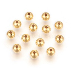 Perles 925 en argent sterling, rond, or, 8mm, Trou: 2mm(STER-P405-10G-8x2.2)