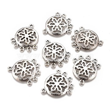 Tibetan Style Alloy Chandelier Components Links, Lead Free & Cadmium Free, Flat Round with Snowflake, Antique Silver, 27x23x2.5mm, Hole: 1.5mm(PALLOY-M186-06AS-RS)