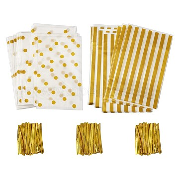 sacs de bonbons en plastique, avec attaches torsadées en plastique et en fer, rectangle, or, 24.8x14.9 cm, 100 PCs / ensemble(AJEW-TA0016-17)