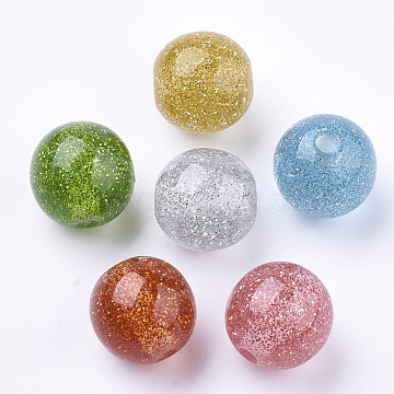 Resin Beads, with Glitter Powder, Round, Mixed Color, 16mm, Hole: 3mm(X-RESI-T036-07B)
