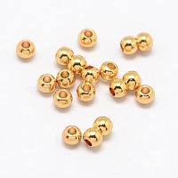 Real 24K Gold Plated Brass Round Spacer Beads, 3x2mm, Hole: 1mm