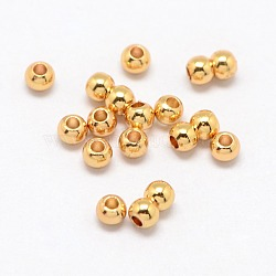 Real 24K Gold Plated Brass Round Spacer Beads, 3x2mm, Hole: 1mm(X-PALLOY-M029-03G)