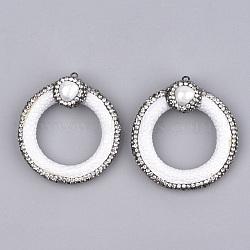 Pendentifs en similicuir, avec argile polymère & strass & coquille & accessoires en fer, peau de serpent imitation, anneau, blanc, 48.5~52.5x45~47x15~17mm, Trou: 1.8mm(RB-T006-06D)