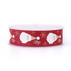 Ruban polyester grosgrain pour Noël, père noël, rouge, 25 mm; environ 100 mètres / rouleau(SRIB-P013-B01)